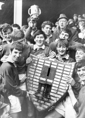The jubiliant Bangor Grammar School rugby team pictured after beating Campbell College 6-3 in the Schools' Cup final at Ravenhill, 1969.