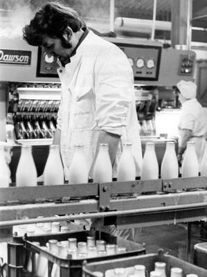 The milk bottling plant at Bangor Dairies in full swing this morning producing milk for the Bangor and Ards areas. 14/1/1975