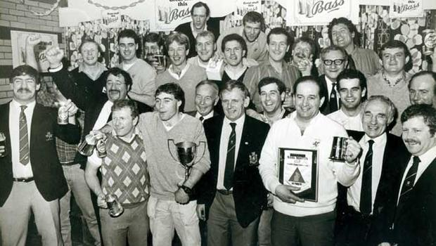 The Bangor rugby team who last night defeated Instonians in the final of the Bass Boston Cup at Upritchard Park, Bangor. Included in the group are Billy Lavery, president of the Ulster Branch IRFU, Turlough O'Hare of Bass Ireland and team officials. 18/12/1985