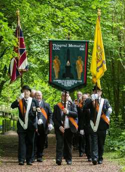 The 1916 Thiepval Memorial Orange Lodge march through Thiepval Wood yesterday