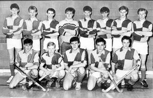 School's Cup final hockey team for New Blaris next Wednesday afternoon: Front row (from left)- James Foote, Lindsay Holmes, Deryck Rothwell (captain), Rory McCrystal and Robin Hudson. Back row - Philip Skelly, Mark Hamilton, Jonny McNaught, Chris Wilkinson, Paul Wylie, Micael McLellan and Robert Stone, 1988.