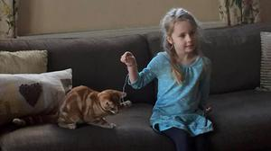 Eliza Adamson-Hopper, five, playing with her cat Mittens, after writing to the Chief Constable of Durham Police, asking why there are no police cats (Cheryl Adamson/PA)