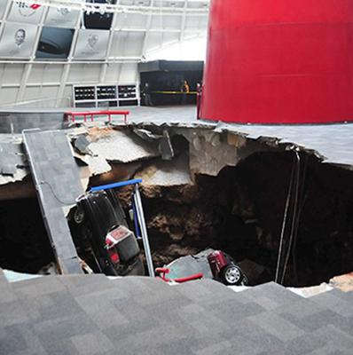 Several cars collapsed into a sinkhole at the National Corvette Museum in Kentucky (AP//National Corvette Museum)