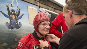 D-Day veteran Fred Glover, 90, prepares to make a tandem parachute jump at Salisbury's Old Sarum Airfield