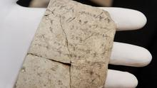 Letters inscribed on pottery, known as ostracons, which were unearthed in an excavation of a fort in Arad, Israel, and dated to about 600BC (AP)