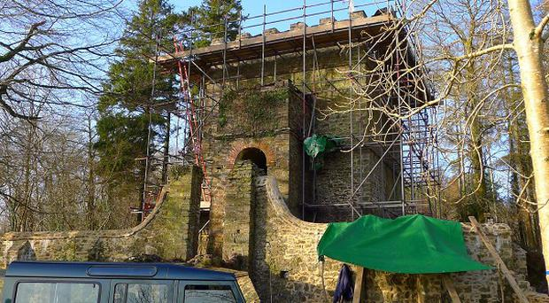 An excavation of a mausoleum in the grounds of Pentillie Castle is thought to have uncovered the body of Sir James Tillie (Onshore Media/PA)
