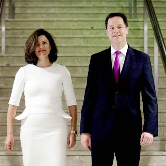 Nick Clegg is spending Valentine's Day 6,000 miles away from his wife Miriam