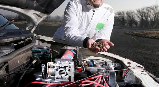Martin Bacon, 42, who got his specially modified coffee powered Ford P100 pick-up truck to go more than 65mph