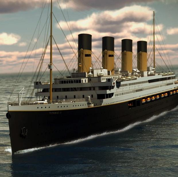 In a rendering provided by Blue Star Line, the Titanic II is shown cruising at sea (AP)