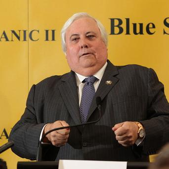 Australian billionaire Clive Palmer during a press conference outlining his plans to build a replica of the Titanic
