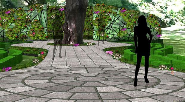 An artist's impression of a raised catwalk in the Buckingham Palace Gardens which will be the location for a series of fashion shows (Fast Track /PA)