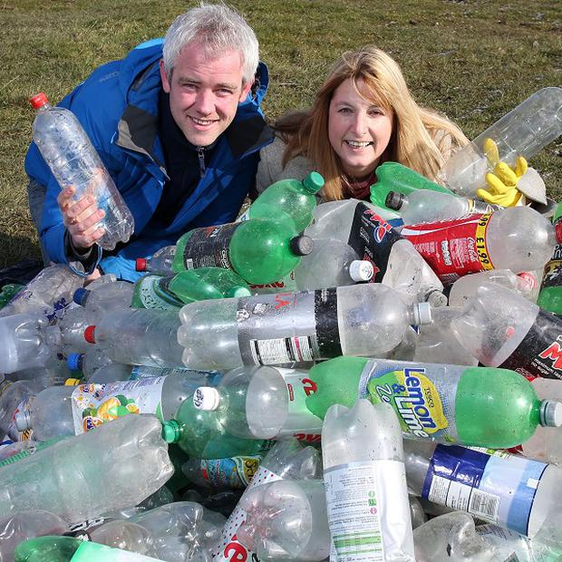 Will Gore of Groundwork Leeds and Deb Wright, Projects Officer at The Harrogate Flower show, appeal for plastic bottles to be used in a display