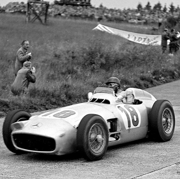 Juan Manuel Fangio driving the 1954 Mercedes-Benz W196 (Bonhams/PA Wire)