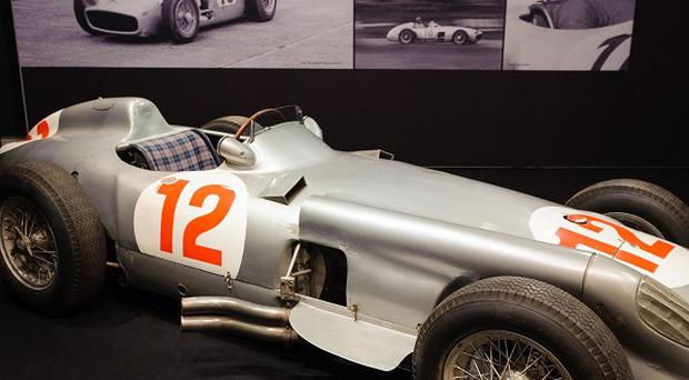 The 1954 two-point-five litre Mercedes-Benz W196 Formula 1 Grand-Prix single-seater driven by Juan Manuel Fangio