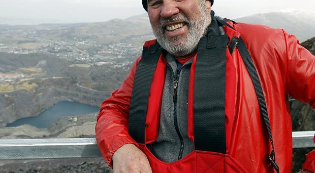 Robert Davies before his attempt on the zip wire in Penrhyn Quarry, Bethesda, Bangor, North Wales