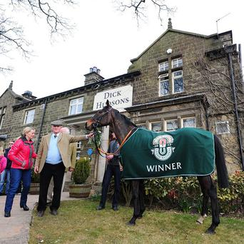 Auroras Encore with trainer Harvey Smith outside their local pub the Dick Hudsons