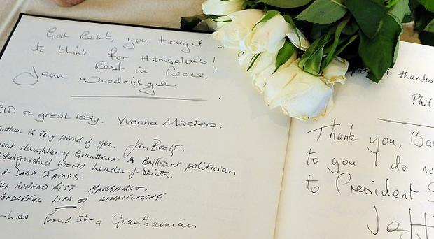 Messages in a book of condolence reveal many are mourning Baroness Thatcher, but some have seen her death as a cause for celebration