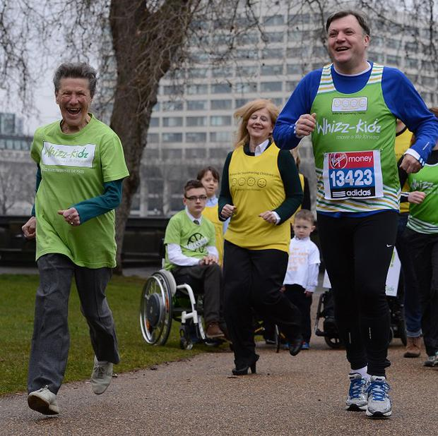 Shadow chancellor Ed Balls trains in Westminster with 85-year-old Iva Barr