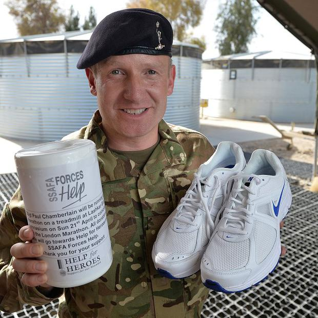 Staff Sergeant Paul Chamberlain, 36, raised 1,000 pounds for two armed services charities (Cpl Si Longworth RLC (Phot)/MoD/PA)
