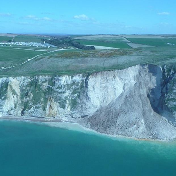 A cliff fall at St Oswalds Bay near Lulworth