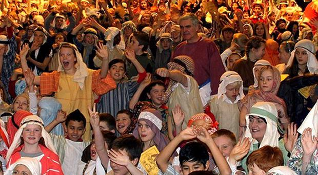 Hundreds of primary school children in a nativity scene at Clifton Cathedral (South Gloucestershire Council/PA)