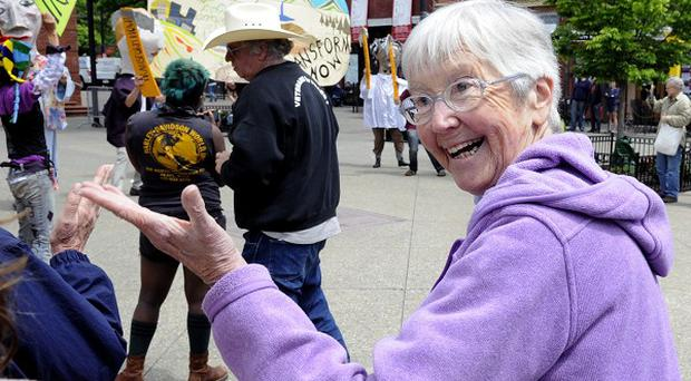 Sister Megan Rice attends a rally by supporters before her trial (AP/Knoxville News Sentinel, J Miles Cary)
