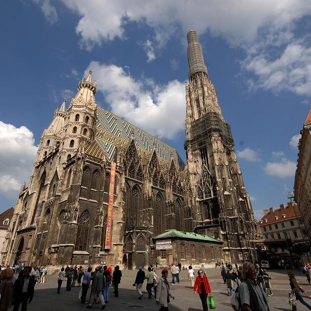 Christian Waldner made the 164ft crossing at St Stephen's Cathedral four times