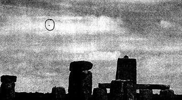 A photograph apparently showing a 'UFO' near Stonehenge, Wiltshire
