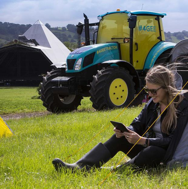 A tractor owned by Glastonbury festival organiser Michael Eavis will be converted into a 4G wifi hotspot at Worthy Farm in Somerset (EE/PA Wire)