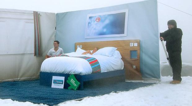 'A room with a view' which a team from Travelodge created when they scaled Ben Nevis (Travelodge/PA)