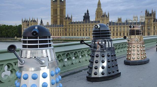 The Prince of Wales lent his voice to one of the Daleks during a visit to the BBC's studios in Cardiff where Doctor Who is made