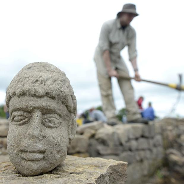 The carved stone head was found at Binchester Roman Fort, near Bishop Auckland