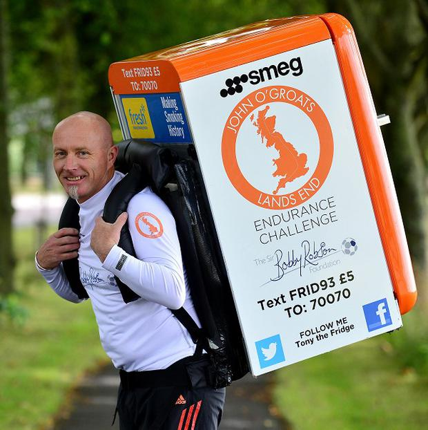 Tony Phoenix-Morrison will run from John O'Groats to Land's End while carrying his 42kg Smeg fridge