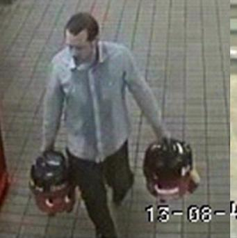 A man who is being sought by police after he walked into Central Metro Station in Newcastle carrying two vacuum cleaners
