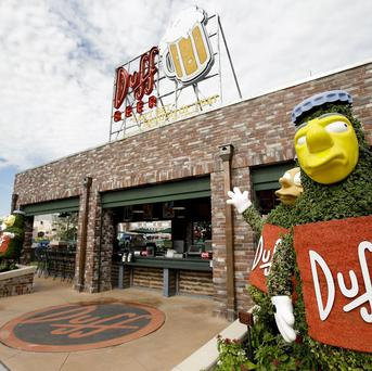 The entrance to Duff Gardens, serving Duff beer, at The Simpson's themed Springfield USA at Universal Orlando in Orlando (AP)