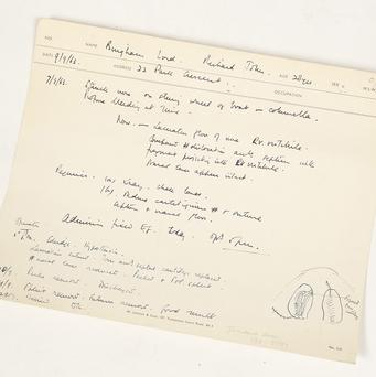 The medical notes of Lord Lucan which show that he had surgery on his nose prior to his disappearance