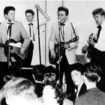 The Quarrymen featuring Paul McCartney (left, guitar) and John Lennon (centre)
