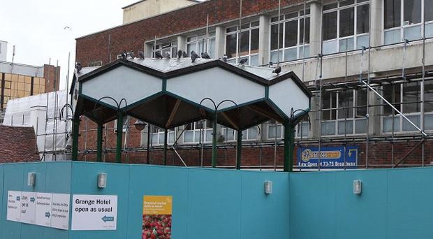 A historic bandstand on the high street of Bracknell, Berkshire