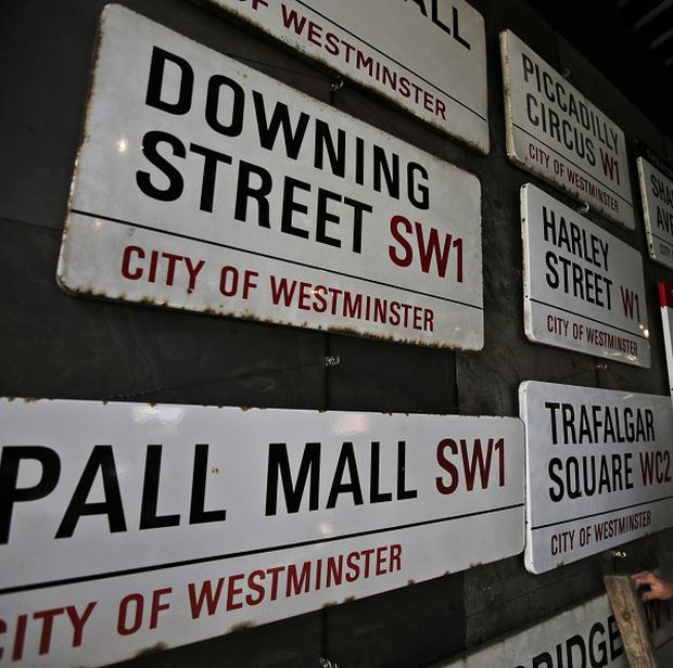 London road signs for sale including the one of Downing Street