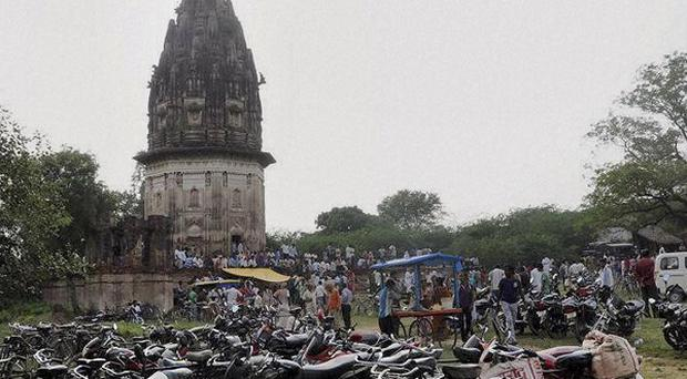 The fort of King Rao Ram Baksh Singh in Unnao, Uttar Pradesh state, India. Archaeologists have begun digging for treasure beneath the 19th-century building (AP)
