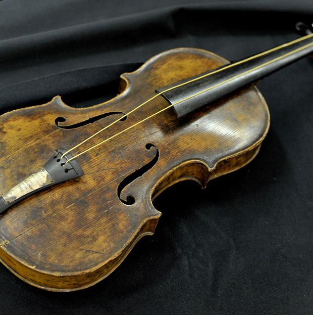 Titanic band leader Wallace Hartley's violin, which was sold at auction in Devizes, Wiltshire