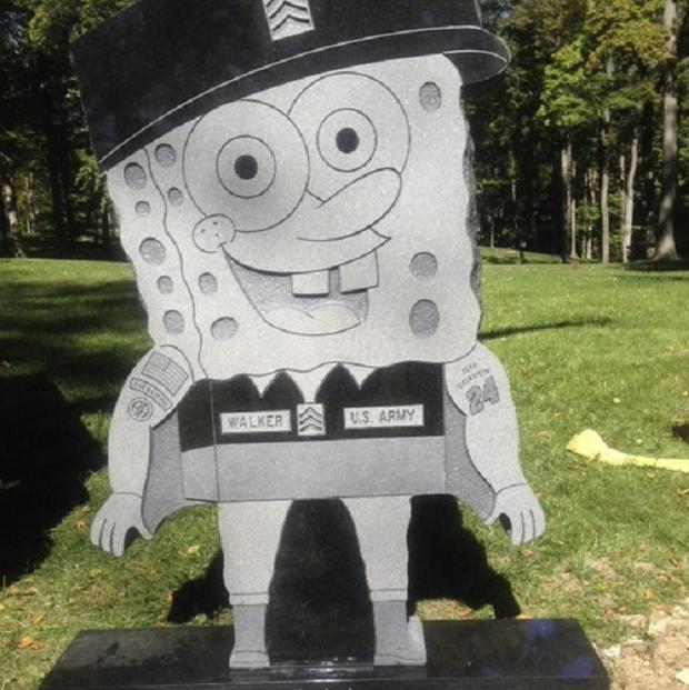 Kimberly Walker's headstone was made in the likeness of popular cartoon character SpongeBob (AP)