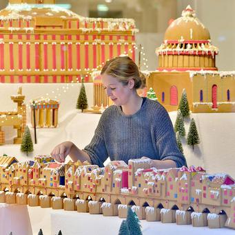 Passers-by are being given a taste of lost architectural gems after they were recreated in gingerbread for a Selfridges Christmas shop window display
