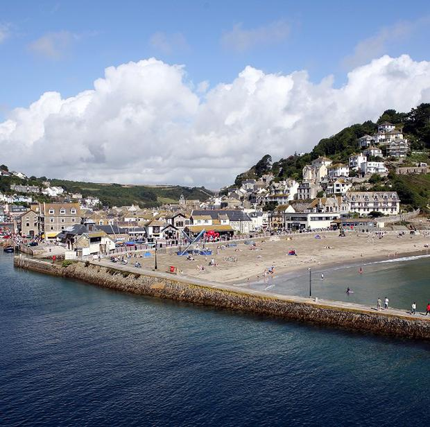 The beach and river at Looe in Cornwall.