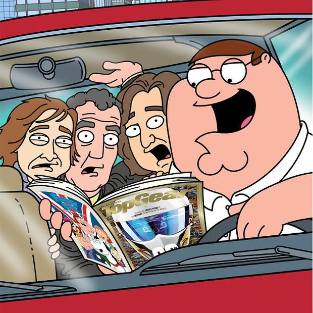Top Gear stars Jeremy Clarkson, James May and Richard Hammond have been given a cartoon makeover - to become Family Guy characters.