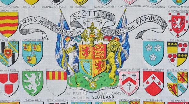 Undated photo issued by Bath Spa University of a Scottish Clans tea towel from the exhibition Drying to Know at at Bath Spa University in Bath. PRESS ASSOCIATION Photo. Issue date: Monday November 4, 2013. Drying to Know will focus on informative and instructional tea towels to highlight how the kitchen staple can be used as a communication tool. Art fans will be encouraged to view the humble tea towel as a work of art, form of advertising, instructional guide and a