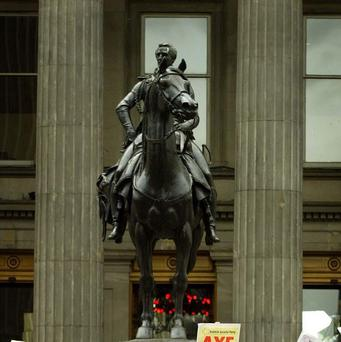 The statue of Wellington in Glasgow often has a traffic cone placed on its head