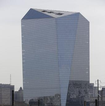 The Cira Centre in Philadelphia. University professor Frank Lee holds a Guinness world record for playing a supersized Pong video game on the side of the building.