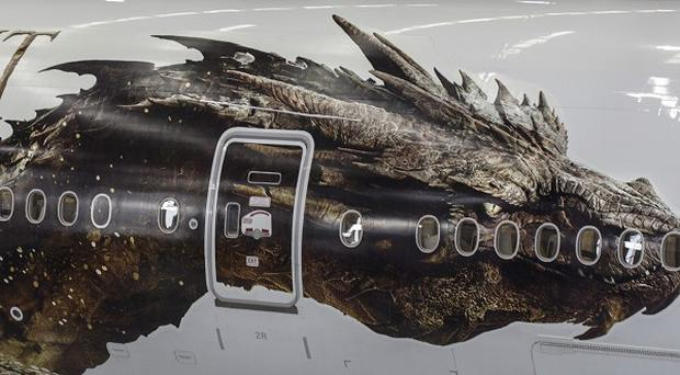 Air New Zealand unveiled the 177ft image of dragon Smaug from The Hobbit that is featured on both sides of a Boeing 777-300 aircraft.