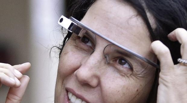 Cecilia Abadie wears her Google Glass device outside court in San Diego. (AP/Lenny Ignelzi)